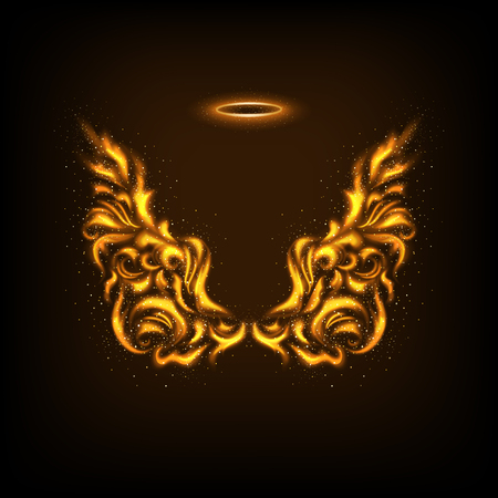 Abstract wings. Flame angels wings on a dark background. Luminosity vector lines Illustration