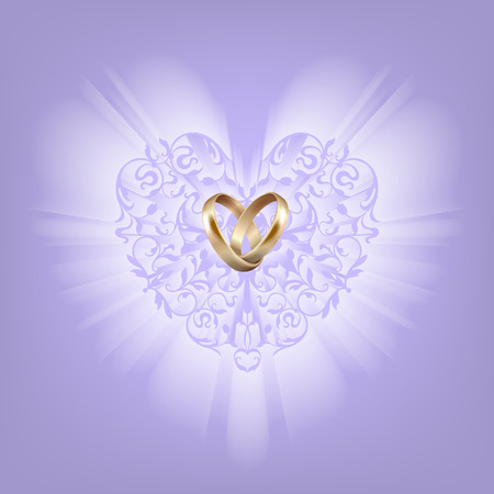 wedlock: Gold wedding rings and ornamental heart on a light violet background. Elegance shape of shine heart. Vintage style Illustration