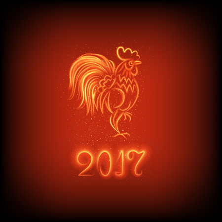 luminosity: illustration of symbol of 2017 on the Chinese calendar. Silhouette of red cock, decorated luminosity lines. Fire rooster on a dark red background.
