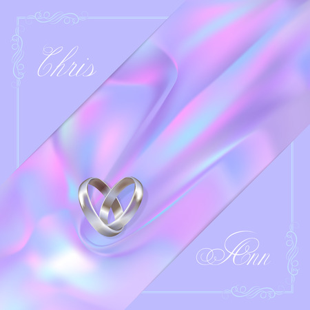 Silver wedding rings and ornamental corners with names on a luminosity violet background. Stylish wedding card. Vintage style Illustration