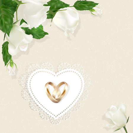 wedlock: Gold wedding rings, white roses and ornamental heart on a beige background. Vintage style