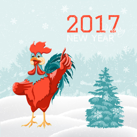 Happy new year card with rooster. Cartoon bird on a background of snow and fir trees. Vector illustration of symbol of 2017 on the Chinese calendar. Illustration