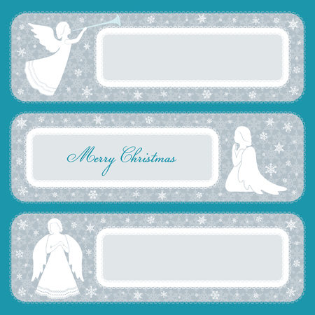 White angels on a gray background with snowflakes. A place for congratulations with ornamental frame.
