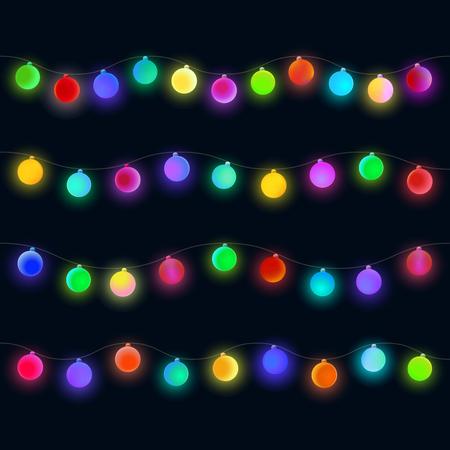 Glowing Christmas lights garland. Colorful matte sphere for design on black background. Illustration