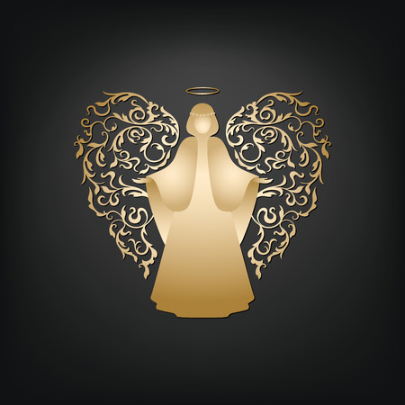 Golden angel on a dark background. Beautiful applique. Abstract design. Isolated vector objects.