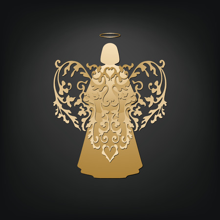 single story: Golden angel on a dark background. Beautiful applique. Abstract design. Isolated vector objects.
