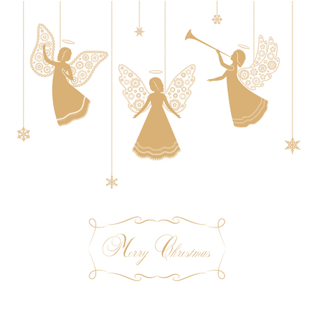 Angels with simple wings on a white background. Golden isolated angel silhouettes and snowflakes hanging on a cord. Merry Christmas text. Illustration