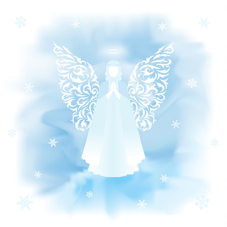 goodness: Angel with floral wings and nimbus on a light blue background. Snowflakes on a light blurred background.
