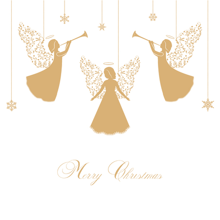 Angels with ornate wings on a white background. Golden isolated angel silhouettes and snowflakes hanging on a cord. Merry Christmas text. Illustration