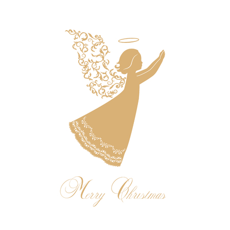 Angels with ornamental wings on a white background. Golden isolated angel silhouettes and Merry Christmas text. Vector illustration.