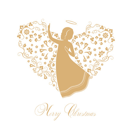 bible story: Angels with ornamental wings on a white background. Golden isolated angel silhouettes and Merry Christmas text. Vector illustration.