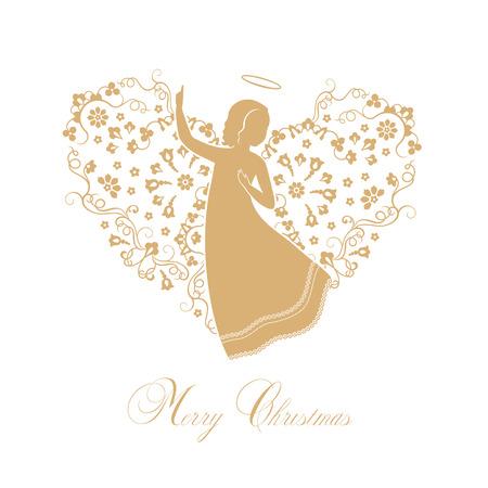 Engelen met sier vleugels op een witte achtergrond. Geïsoleerd gouden engel silhouetten en tekst Merry Christmas. Vector illustratie.