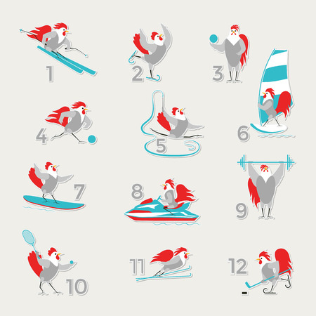 Cartoon roosters and hens in the sports and fitness. Cute birds on a light background. Twelve birds in sports for each month of the calendar. Set of vector objects on vacation, hobbies and sports.
