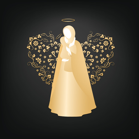 Isolated silhouettes of mother and child with angelic ornamental heart and nimbus. Beautiful golden applique on a dark background. Abstract floral design.