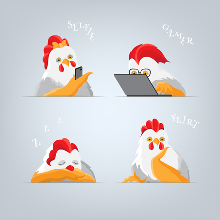 phon: Humorous cocks students at lecture. Cartoon rooster Playing Games on a Computer, chicken making self and sleep cock. Light bird with red comb and yellow wings on a gray background.
