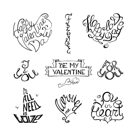 Valentines day hand lettering set for greeting cards white stock stock photo valentines day hand lettering set for greeting cards white and black hand drawing vector m4hsunfo