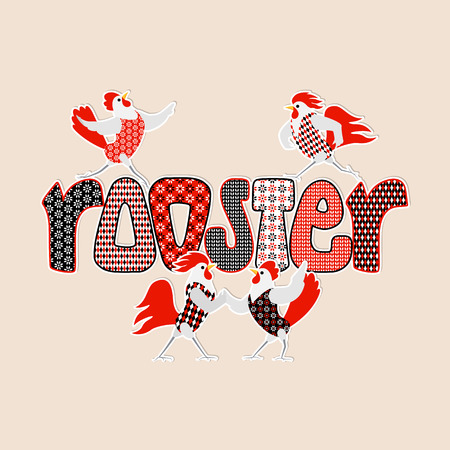 Cartoon roosters and hens and patterned inscription Rooster. Cute love birds on a light background. Valentines Day Vector illustration.