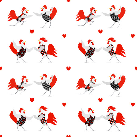 Cartoon roosters and hens and big letters Rooster with different patterns. Cute love birds on a light background. Valentines Day Vector illustration.