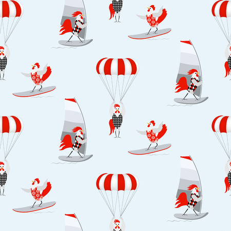 Cartoon Roosters and hens in the sea vacation. Vector white, red, grey birds on a light blue background. Seamless pattern with sea sports, windsurfing, jet