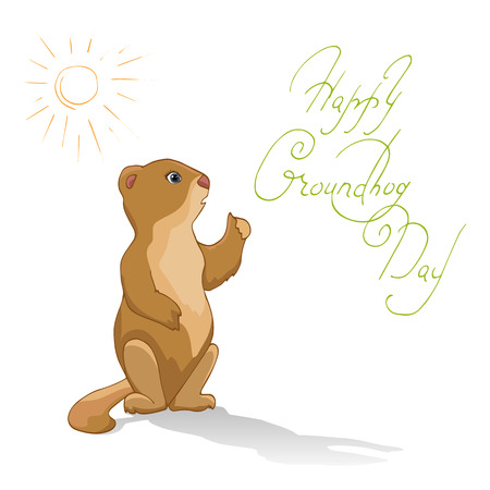 end of the days: Cute Groundhog Day card as funny cartoon character of marmot. Vector hand-painted frightened marmot, sun, shade, and the inscription on a white background.