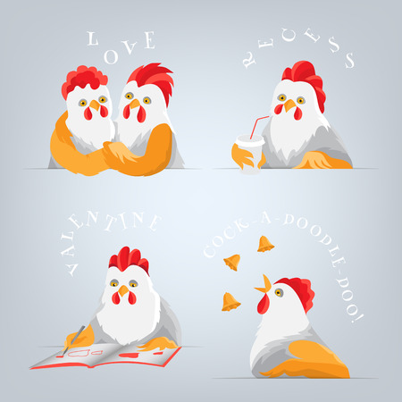 Humorous students at lecture. Cartoon birds embracing, drawing heart, drinking coffee during the break, calling. Light bird with red comb and yellow wings on a gray background.