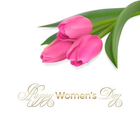 Three pink tulips and bottom of the card golden text Happy Women day on a white background. Vector illustration with Photo realistic delicate flower. Illustration