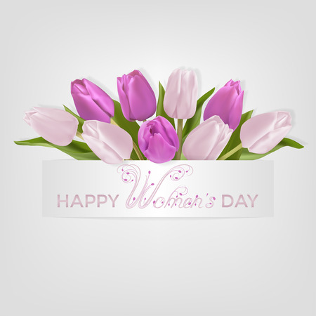 Bouquet of light pink and lilac tulips and pearly text Happy Women day on a light background. Vector illustration with Photo-realistic delicate spring flowers. Beautiful calligraphic inscription.