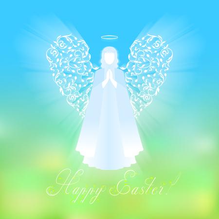 Engel mit dekorativen weißen Flügeln und glühendem Nimbus. Schönes Engelsschattenbild mit empfindlichen Flügeln. Glücklicher Ostern-Kalligraphietext auf einem Hintergrund des Himmels und des grünen abstrakten Hintergrundes. Standard-Bild - 73488095
