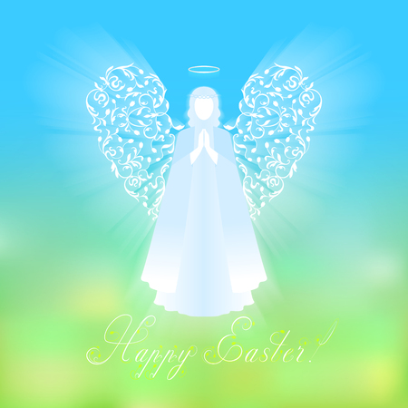 Angel with ornamental white wings and glowing nimbus. Beautiful angel silhouette with delicate wings. Happy Easter calligraphy text on a background of sky and green abstract background. Illustration
