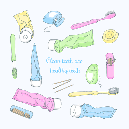 Set of colorful hand-drawn tooth past, tooth brush, sticks and floss. Vector illustration. Accessories for dental hygiene on a light background for your design.