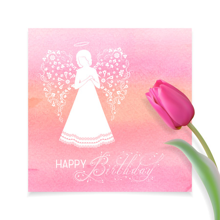 White Angel silhouette with ornamental white wings, nimbus and tulips. Happy Birthday calligraphy text on a Watercolor pink background.