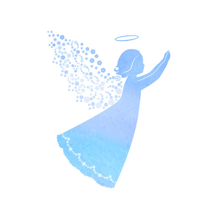 Angel silhouette with ornamental wings and nimbus. Praying angel with Watercolor blue background.