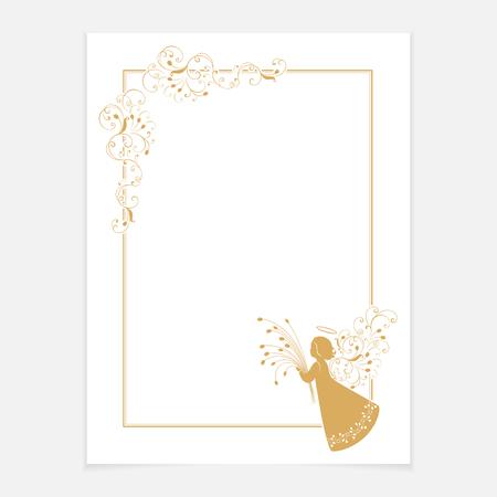 Uitstekend sierlijk frame met bloemenelementen voor uitnodiging, gefeliciteerd en groetkaart, menu. Witte lege met een hoek bloempatroon en engel met een boeket tulpen. Geïsoleerde vector ontwerp.