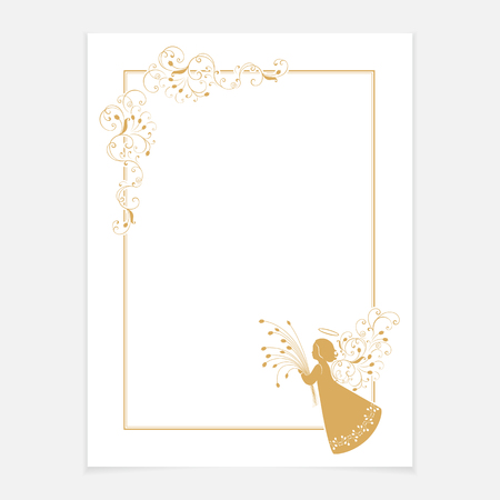 Vintage ornate frame with floral elements for invitation, congratulation and greeting card, menu. White blank with a corner flower pattern and angel with a bouquet of tulips. Isolated vector design.