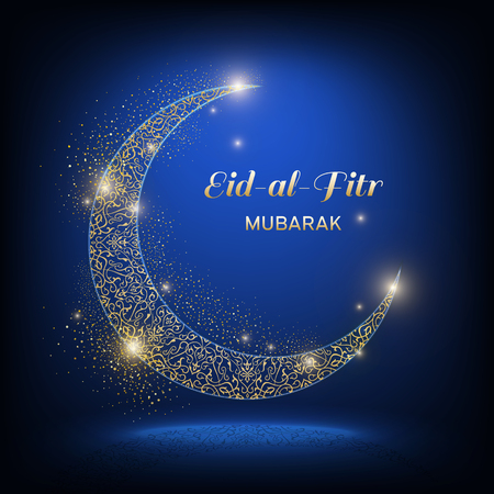 The golden shine ornamental moon with shadow and the inscription Eid-Al-Adha mubarak on a dark blue background. Muslim community festival vector illustration