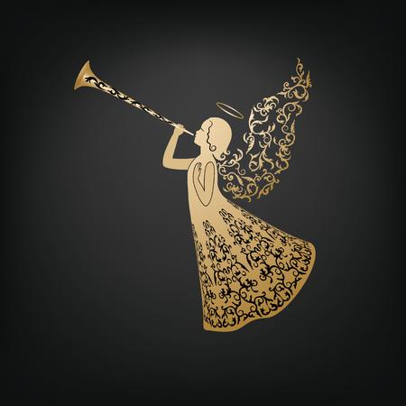 美しい天使装飾羽とトランペット。 写真素材 - 90709638