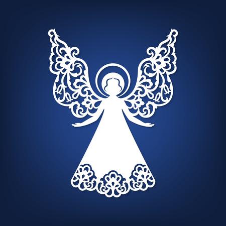 Laser cut paper Christmas angel decoration design. Vettoriali