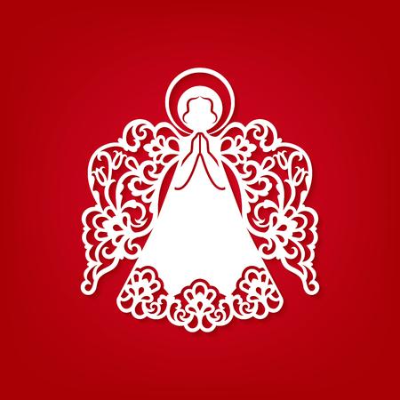 Diseño del vector de la decoración del ángel de la Navidad del papel del corte del laser. Tarjeta de felicitación para talla de madera, corte de papel y decoraciones de Pascua. Hermoso apliques sobre fondo rojo. Objetos vectoriales abstractos aislados.