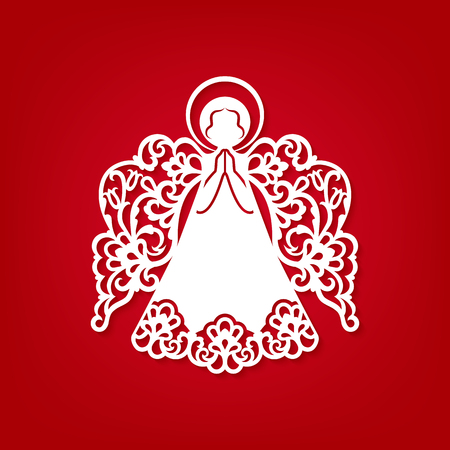 Laser cut paper Christmas angel decoration vector design. Greeting Card for wood carving, paper cutting and Easter decorations. Beautiful applique on red background. Abstract Isolated vector objects.