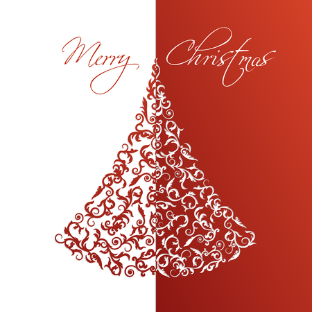 Red and white Greeting Card with Ornamental christmas tree in paper cut style. Merry Christmas calligraphy text. Abstract Isolated vector object. Vettoriali