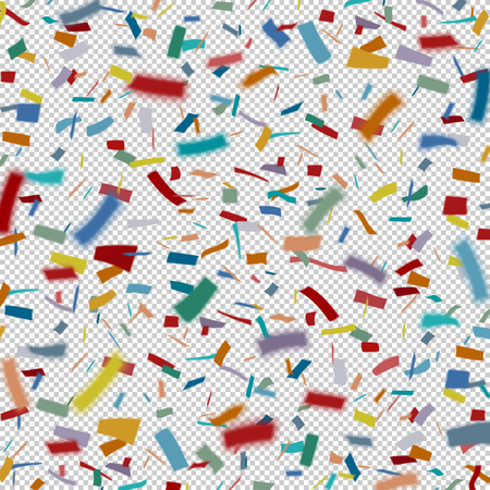 Many flying colorful tiny confetti pieces on a transparent pattern. Çizim