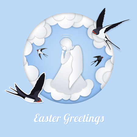 White angel and clouds in the style of layered paper. Round frame and Swallows. A praying cute angel on a light blue background. Greeting card Happy Easter in paper cut style.