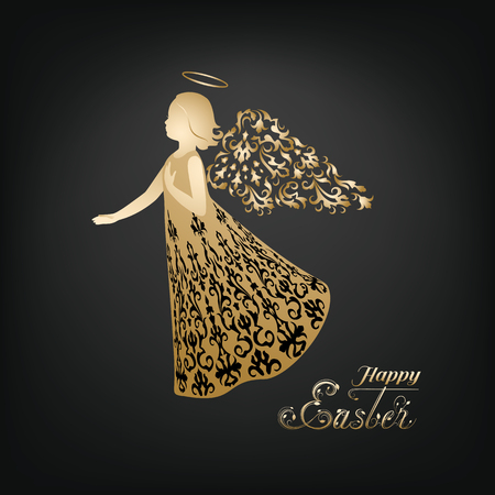 Golden Angel silhouette with ornamental wings and nimbus. Beautiful praying angel and Happy Easter calligraphy text on a black background. Vectores