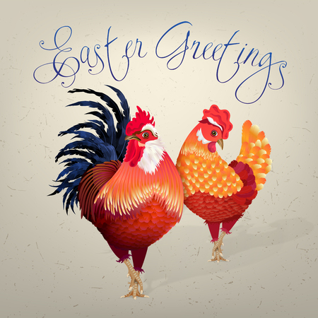 Easter card with rooster and chicken in bright red and orange plumage. Proudly standing birds on a beige background and a hand-written inscription Easter greetings.