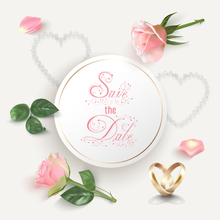 Gold wedding rings, pink photo realistic roses and petals, hearts on a light background. White round banner with hand lettering calligraphy text. Elegant luxury vector design. Vintage style.