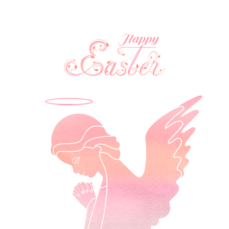 A praying angel with delicate wings on a Watercolor pink background. The upper part of angel silhouette in profile view. Happy Easter calligraphy text. Isolated vector object.