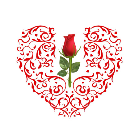Red ornamental heart and photo realistic red rose on a white background.