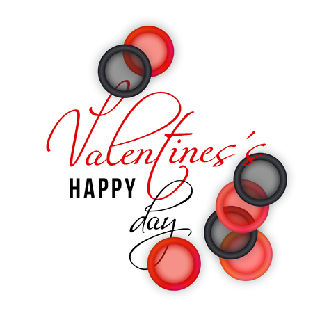 Valentines Day card with hand writing text and red and black condoms on a white background. Playful and humor design.