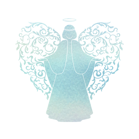 Angel silhouette and nimbus. Beautiful Flying angel and Happy Easter calligraphy text on a Watercolor blue background. Vector Stencilled retro style.