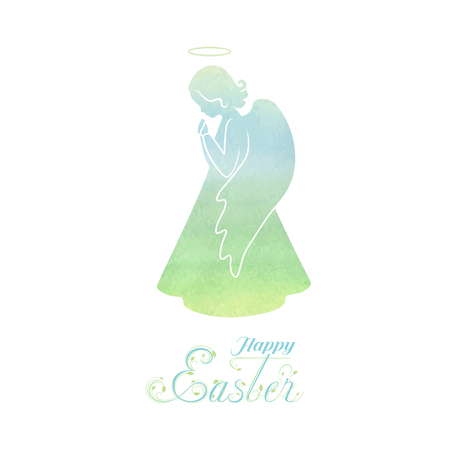 Angel silhouette with wings and nimbus. Praying angel with Watercolor green, blue background. Beautiful applique. Abstract design. Isolated vector objects.